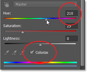 The Hue/Saturation options in the Properties panel. Image © 2013 Photoshop Essentials.com