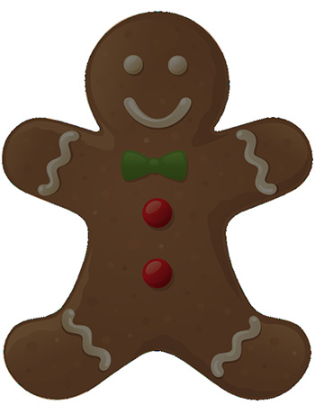Adobe Photoshop tutorial image: The gingerbread man has now been completely traced with the Pen Tool.