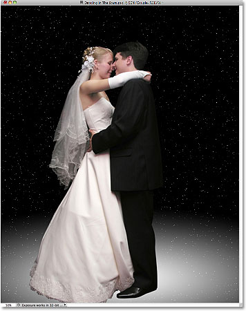 The wedding couple has been added to the stars document. Image licensed byPhotoshop Essentials.com.
