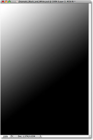 The image is now filled with the gradient. Image © 2009 Photoshop Essentials.com