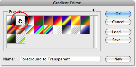 Selecting the 'Foreground-to-Transparent' preset gradient in the Gradient Editor. Image © 2009 Photoshop Essentials.com