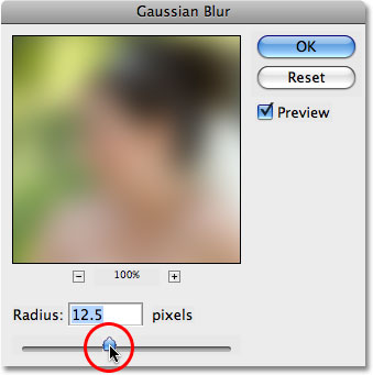 The Gaussian Blur dialog box in Photoshop. Image © 2008 Photoshop Essentials.com.