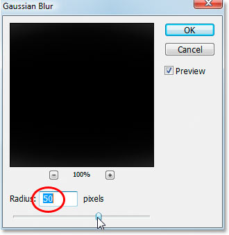 Photoshop's Gaussian Blur dialog box.