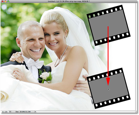 Dragging out a copy of the film strip in Photoshop. Image © 2009 Photoshop Essentials.com.