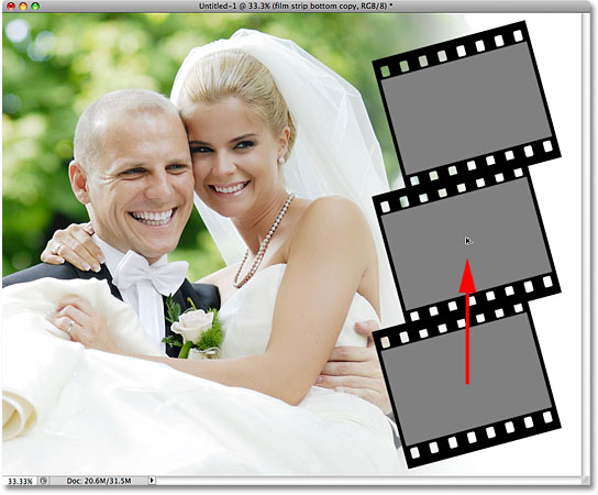 Dragging out a third film strip in Photoshop. Image © 2009 Photoshop Essentials.com.
