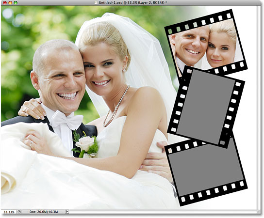 The image is now clipped to the photo area inside the film strip. Image © 2009 Photoshop Essentials.com.
