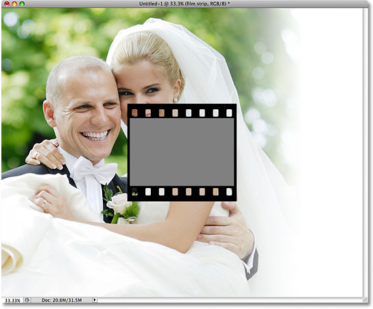 The first film strip has been added to the collage. Image © 2009 Photoshop Essentials.com.