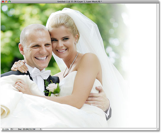 The photo and background are now blended nicely. Image © 2009 Photoshop Essentials.com.