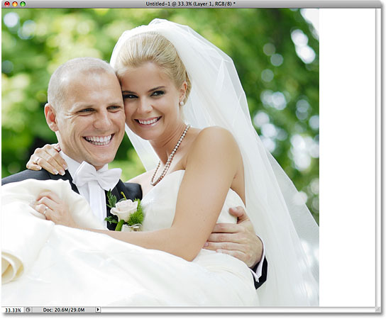 The image after resizing and repositioning it with the Free Transform command. Image © 2009 Photoshop Essentials.com
