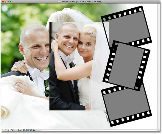 Pasting the first image into the first film strip. Image © 2009 Photoshop Essentials.com.