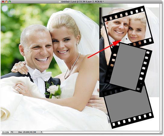 Dragging the photo inside the photo area of the film strip. Image © 2009 Photoshop Essentials.com.