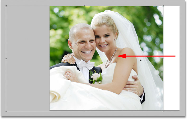 Repositioning the image with the Free Transform command in Photoshop. Image © 2009 Photoshop Essentials.com