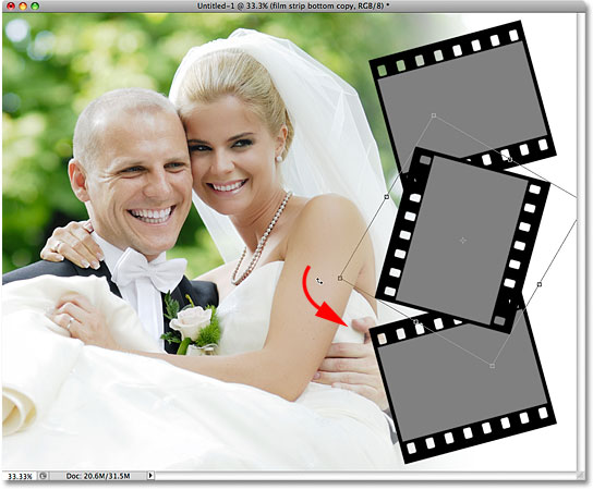Rotating the third film strip in the photo collage. Image © 2009 Photoshop Essentials.com.