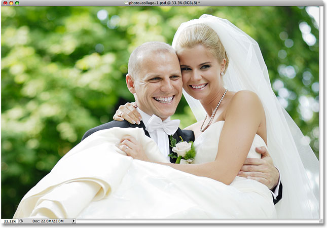 A wedding photo with a bride and groom. Image licensed from iStockphoto by Photoshop Essentials.com