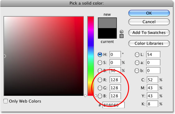 Choosing a neutral gray color in the Color Picker in Photoshop. Image © 2009 Photoshop Essentials.com.