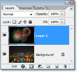 Photoshop's Layers palette showing both images inside the same document, each on its own separate layer.