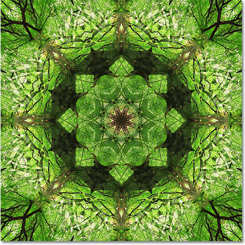 The final pattern design created from a single image in Photoshop. Image © 2010 Photoshop Essentials.com.