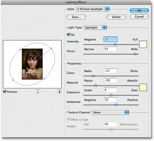 Photoshop's Lighting Effects filter dialog box. Image © 2009 Photoshop Essentials.com.