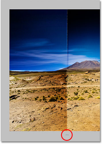 Click with the brush directly below the first vertical fold line. Image © 2011 Photoshop Essentials.com.
