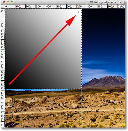 Drawing a diagonal black to white gradient. Image © 2011 Photoshop Essentials.com