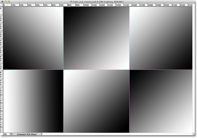 A black to white gradient appears in each section of the image.
