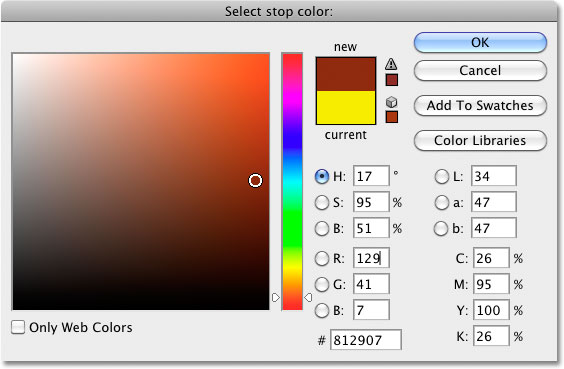 Selecting orange from the Color Picker in Photoshop. Image © 2010 Photoshop Essentials.com.