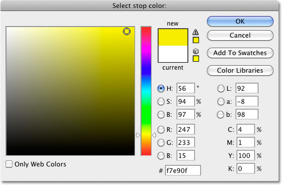 Selecting yellow from the Color Picker in Photoshop. Image © 2010 Photoshop Essentials.com.