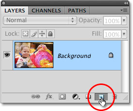 The New Layer icon in the Layers panel in Photoshop CS4. Image © 2009 Photoshop Essentials.com.