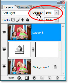 Lower the opacity of the top layer to reduce the amount of color