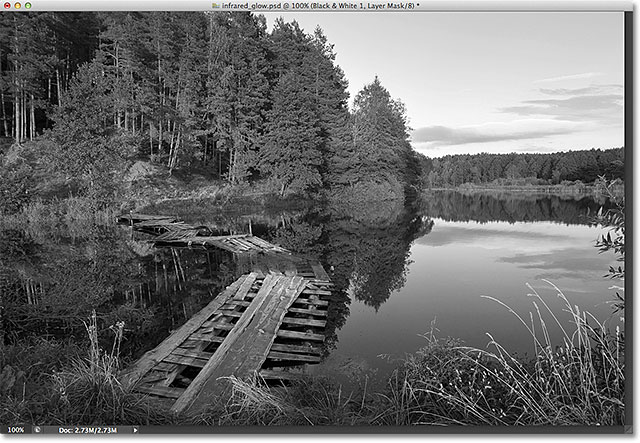 The image after adding the Black & White adjustment layer. Image © 2012 Photoshop Essentials.com.