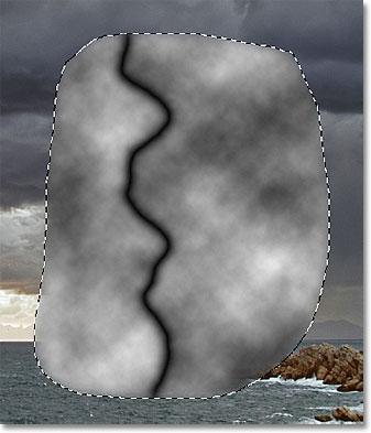 The lightning bolt begins to appear. Image © 2011 Photoshop Essentials.com.