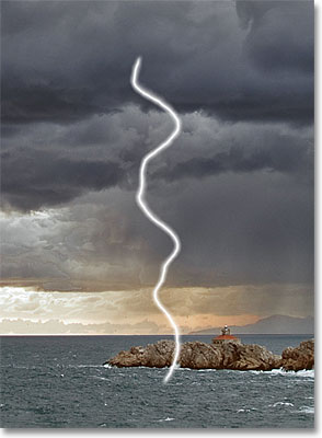 Only the lightning bolt remains visible. Image © 2011 Photoshop Essentials.com.
