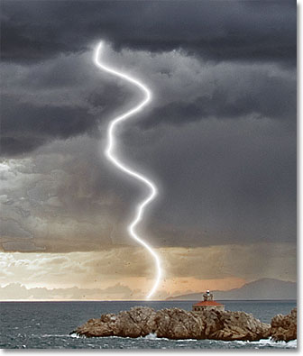 The glow from the lightning now appears more intense. Image © 2011 Photoshop Essentials.com.