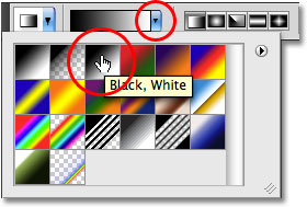Selecting the black to white gradient from the Options Bar in Photoshop.