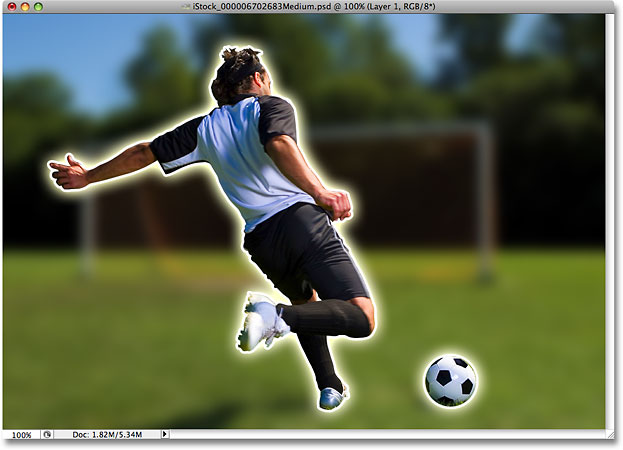 The image after applying the Gaussian Blur filter in Photoshop. Image © 2008 Photoshop Essentials.com.