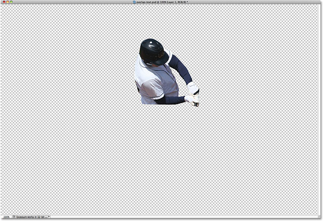 Only the contents of Layer 1 appear in the document window. Image © 2010 Photoshop Essentials.com.