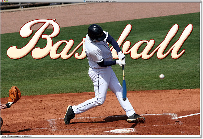 The baseball player now appears in front of the text. Image © 2010 Photoshop Essentials.com.