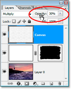 Lowering the opacity of the layer