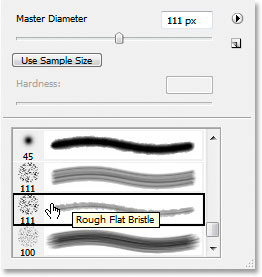 Select the 111-pixel 'Rough Flat Bristle' brush