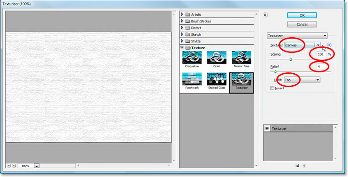 The Filter Gallery displaying the Texturizer filter options
