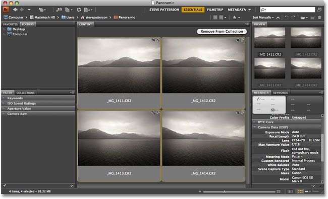 Selecting multiple images in Adobe Bridge CS4. Image &copy; 2008 Photoshop Essentials.com.