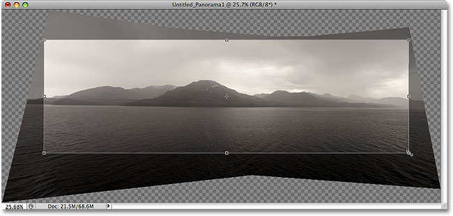 Cropping the panoramic image with the Crop Tool in Photoshop CS4. Image &copy; 2008 Photoshop Essentials.com.