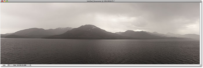 A panorama of mountains created with Photomerge in Photoshop CS4. Image &copy; 2008 Photoshop Essentials.com.