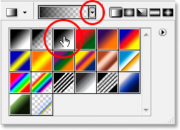 Selecting the black to white gradient from the Gradient Picker.