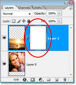 Photoshop's Layers palette now showing the newly added layer mask thumbnail.