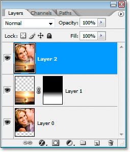 The Layers palette showing both layers merged onto a new layer.