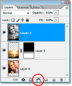 Clicking the 'New Fill Or Adjustment Layer' icon at the bottom of the Layers palette.