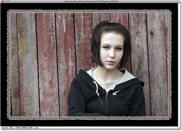 Photoshop brushes photo border effect.