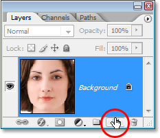 Clicking the 'New Layer' icon at the bottom of the Layers palette.