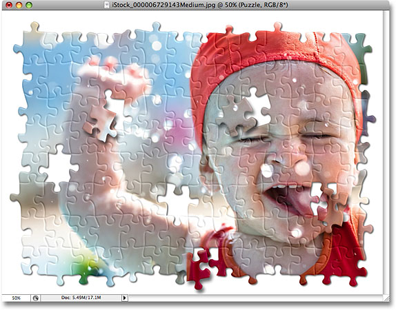 Efek puzzle Photoshop. Gambar © 2008 Photoshop Essentials.com.